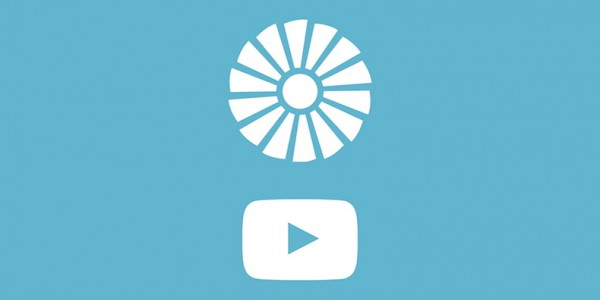 White museum logo and play button on a sky blue background. Watch Canada Aviation and Space Museum youtube videos