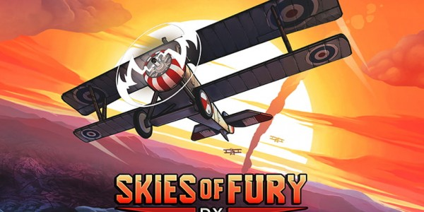Illustration of a biplane. Text over image: Skies of Fury DX