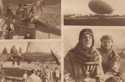 "Four photographs showing the French actress Gaby Morlay undergoing her training aboard an airship of the Compagnie générale transaérienne. Anon., ""La première femme pilote de dirigeable."" Le Miroir, 26 October 1919, 12."