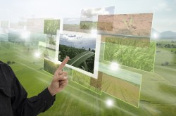 A number of images of plants are superimposed over an aerial view of a farmer's field.